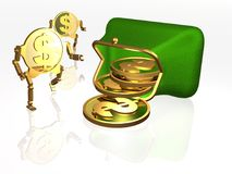 Money and purse Stock Images