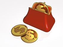 Money and purse. On white background, 3D illustration Royalty Free Stock Photography