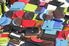 Money Purses. Colorful Money Purses on a Flew Market Stall Royalty Free Stock Photo