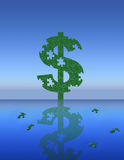 Money Puzzle. A puzzle dollar sign stands above a reflective body of water Royalty Free Illustration