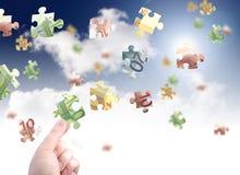 Money puzzle. Money concept. Spending money Stock Photos