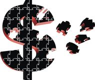 Money puzzle. 3d puzzle money symbol in black color vector illustration