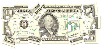 Money Puzzle. Dollar made of puzzles over white background Stock Photography