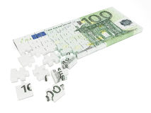 Money puzzle. 100 euro bill jigsaw pieces isolated on white background Vector Illustration