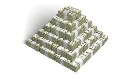 Money pyramid. Made from 100 dollars wads Royalty Free Stock Image