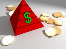 Money Pyramid. The illustration of money pyramid and coins lying on the ground Stock Photos