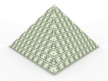 Money pyramid. Conceptual pile of americand dollars in piramid - rendered in 3d stock illustration