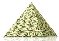 Money pyramid. Financial pyramid. 3D concept of global finance and money Royalty Free Stock Photography