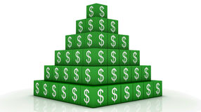 Money Pyramid. Green white cube Royalty Free Stock Photography