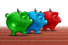 Money Race. Business concept as a best of breed metaphor with a group of savings piggy banks being guided by finance businessmen competing for the best Stock Photos