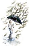 Money rain. Painting of money rain isolated on white vector illustration