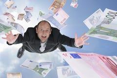 Money rain. Happy man and banknote money rain Royalty Free Stock Images