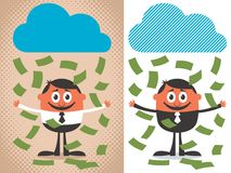 Money Rain. Ing over cartoon character. The illustration is in 2 versions Royalty Free Stock Image