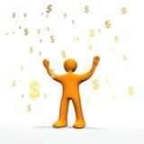 Money Rain 3D. 3d illustration looks a orange person in the money rain Stock Photo