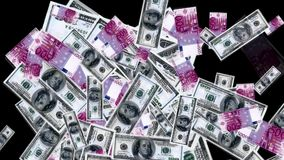 Money rain from the euro and dollars stock video