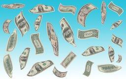 Money rain. A rain of money falls from the blue sky Royalty Free Stock Photography