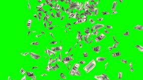 Money Rain on a Green Background. Seamless Looped 3d Animation. Ultra HD 4K 3840x2160