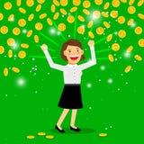 Money rain and happy woman Royalty Free Stock Image