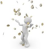 Money rain. A person is happy about the money that falls from the sky Stock Image
