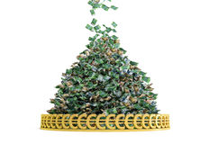 Money Rain. Pile of Cash - Euro ing down Royalty Free Stock Image