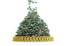 Money Rain. Pile of Cash - Euro ing down vector illustration