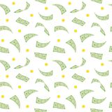 Money rain. Seamless pattern with falling dollars and coins. Vector illustration Stock Image