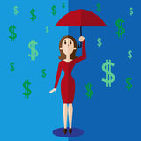 Money rain vector illustration in flat style. Woman holding umbrella under money rain stock illustration