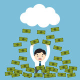 Money raining over a businessman Stock Images