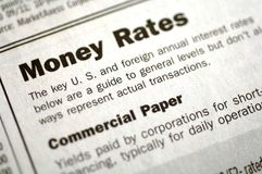 Money Rates and Commercial Paper Royalty Free Stock Photo