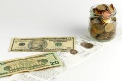 Money on a receipt Stock Image