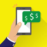 Money receive notification on mobile phone stock illustration