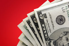 Money on red Background stock photo