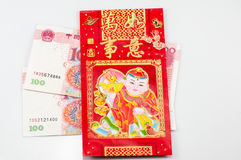 Money and red bag Royalty Free Stock Photos