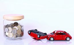 Money and red car Royalty Free Stock Photo