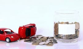 Money and red car Royalty Free Stock Photos