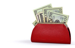 Money in red change purse Royalty Free Stock Photo