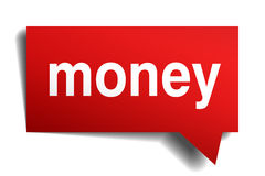 Money red 3d realistic paper speech bubble Stock Images