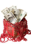 Money in a red gift box Royalty Free Stock Photography