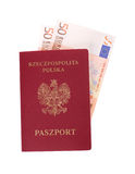 Money and red passport Stock Photography