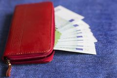 Money in a red royalty free stock photo