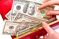 Money in red wallet Royalty Free Stock Photo