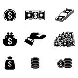Money related icons set. Finance and Money Related black silhouette icons. Bank and finance, investment, loans and loans. Monetary operations. Flat vector Royalty Free Stock Photo