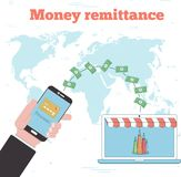 Money remittance concept in line art style. Banking and finance, ecommerce service, mobile payment, retail and shopping. Transfer money with smartphone to Royalty Free Stock Photo