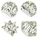 Money retail stickers stock image
