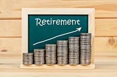 Money with retirement plan. Stock Photo