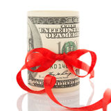 Money with ribbon and red bow Stock Image