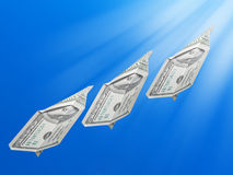 Money rising in the air Stock Image