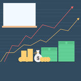 Money and rising arrows graph Stock Photo