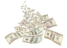 Money river, isolated American hundred notes Stock Photos