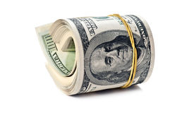 Money roll. Isolated on white background Stock Photo
